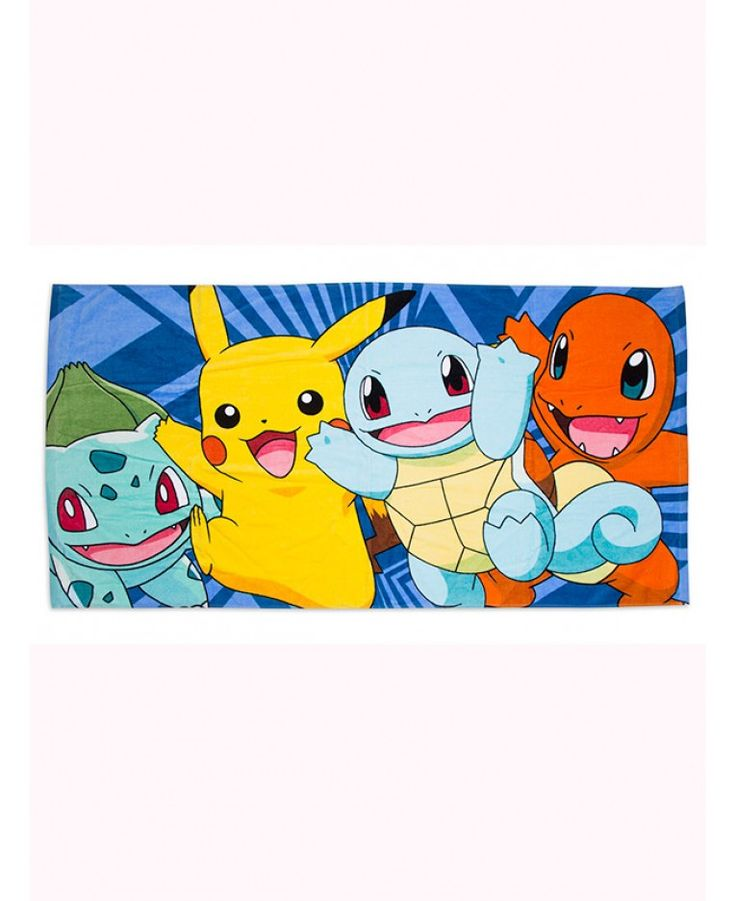 Pokemon Beach Towel. Let Pikachu, Charmander, Squirtle and Bulbasaur help dry you off.