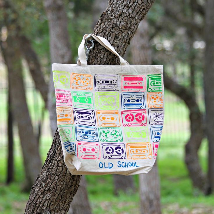 """Old School"" Neon Tote Bag DIY with Tulip Fabric Paint - Morena's Corner"