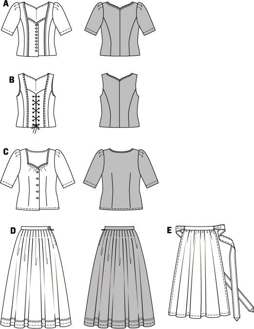 Burda Style Dirndl Dress Pattern 7870