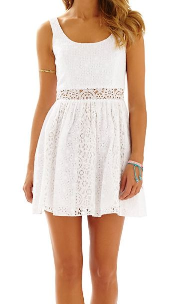 Lilly Pulitzer scoop neck eyelet dress - love these dainty cut-outs!