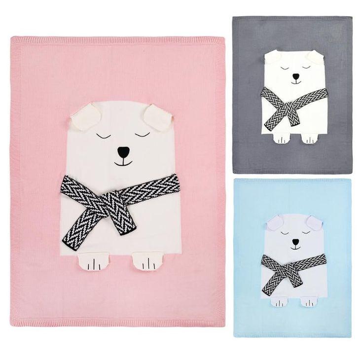 幼児赤ちゃんのウールニット毛布80 × 110センチクマパターン睡眠おくるみ毛布ベッドソファカバーラップ柔らかい毛布