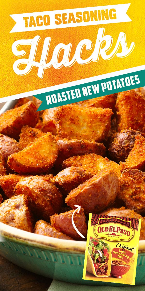 Looking for a bold and simple side dish for tonight? Grab a packet of Old El Paso Taco Seasoning, toss and roast with new potatoes! Easy to prepare and done in just over a half hour!
