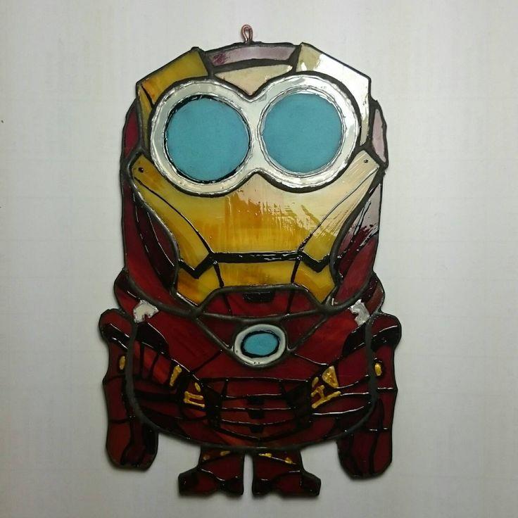 Minion Iron man by TheStainedGlassCo on Etsy