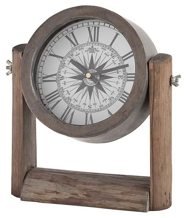 """11"""" Compass Mantel Clock, Brown   Mantel Makeover   One Kings Lane"""