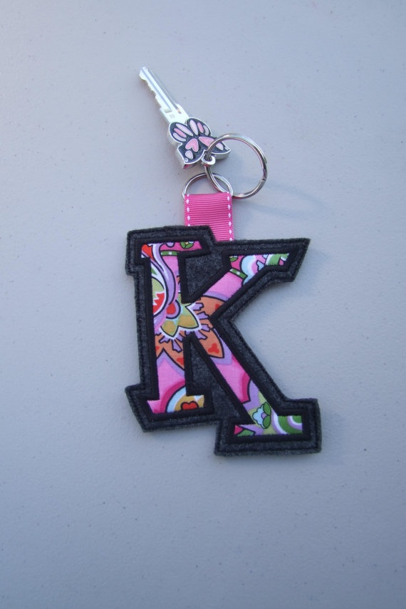 Keychain Initial Applique $8.   This is so cute.