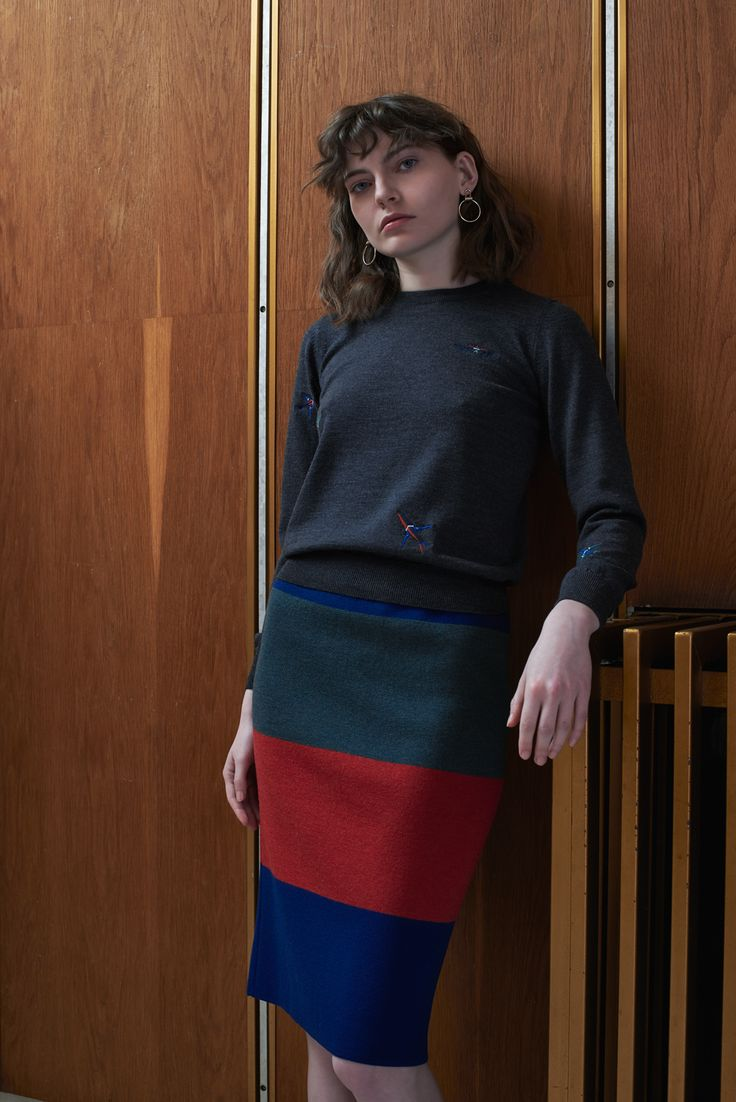 NOVI - embroidered sweater in pigeon with TUZLA - tube skirt in emerald/berry