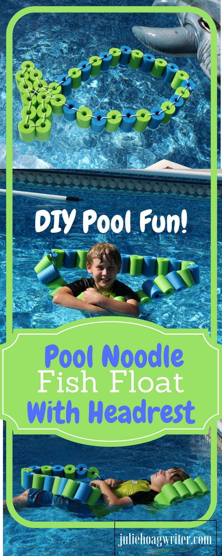 DIY Pool Noodle Fish Float With Headrest-pool noodle ideas-swimming pools-inground pool-noodle crafts-pool noodles-pool ideas-pool toys-pool toys for kids-pool floats-pool floats for adults-swimming pools-swimming pool ideas-swimming pool backyard-pool play-pool fun for kids-pool fun ideas-swim floats kids-swim floats summer-kids-familly-DIY gifts @juliehoagwriter.com
