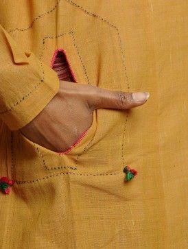 Mustard Yellow Panelled Stitch Detailed Khadi Kurta
