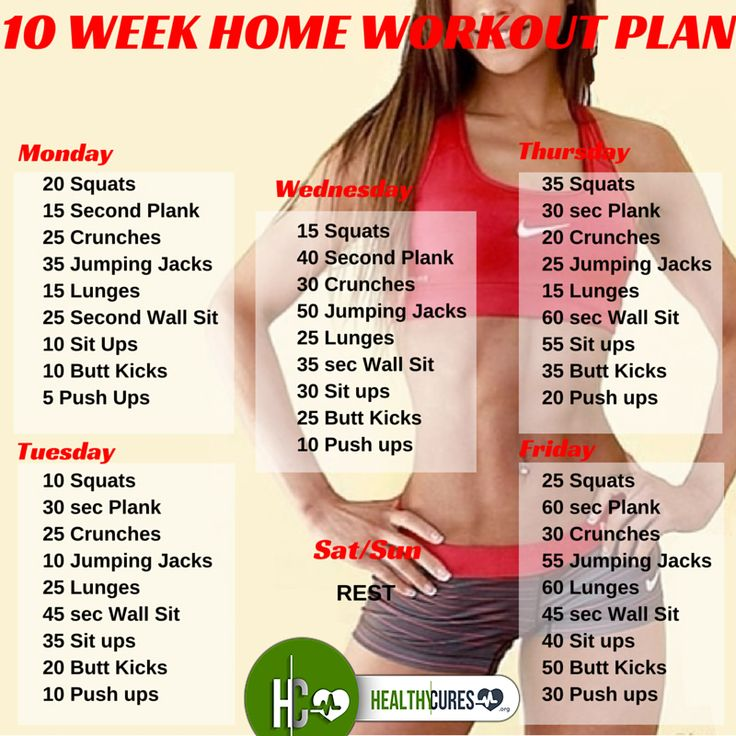 10 Week No-Gym Home Workout Plan Workout plans, Workout and - weekly exercise plans