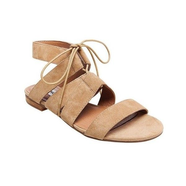 Women's Steve Madden August Strappy Sandal (54 AUD) ❤ liked on Polyvore featuring shoes, sandals, casual, casual footwear, steve madden sandals, laced up gladiator sandals, strappy gladiator sandals, suede lace up sandals and strap sandals
