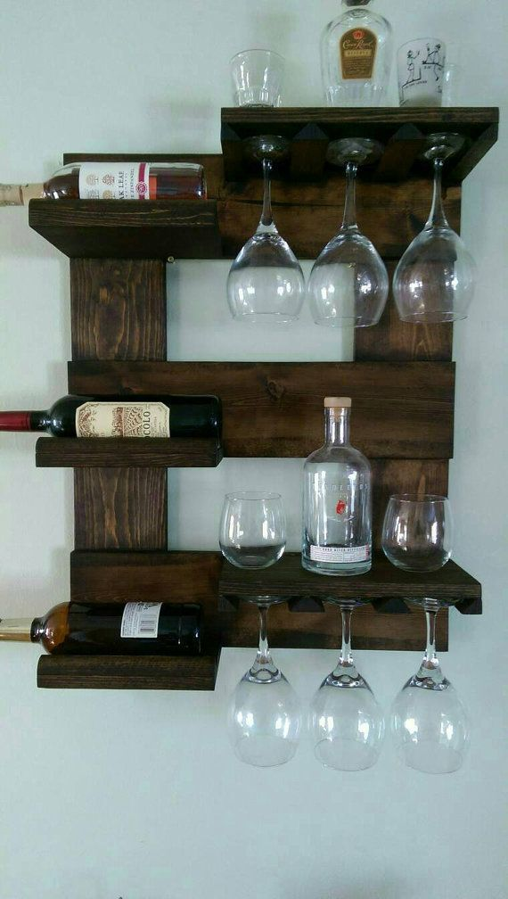 Wall mounted wine rack by Mullinwoodworking on Etsy