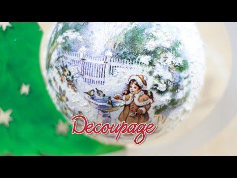 Decoupage - bombka choinkowa na stojaku - instrukcja krok po kroku - YouTube