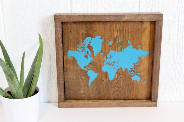 Rustic Wall Decor, Rustic World Map, Map on Wood, World Map, Travel Decor, Wooden Decor, Reclaimed Wood, Nursery Décor, Gallery Wall Hanging by TealBlueStudio on Etsy