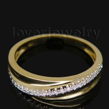 Vintage Natural Diamond Solid 14k Yellow Gold Engagement Wedding Band Ring SR0040(China (Mainland))
