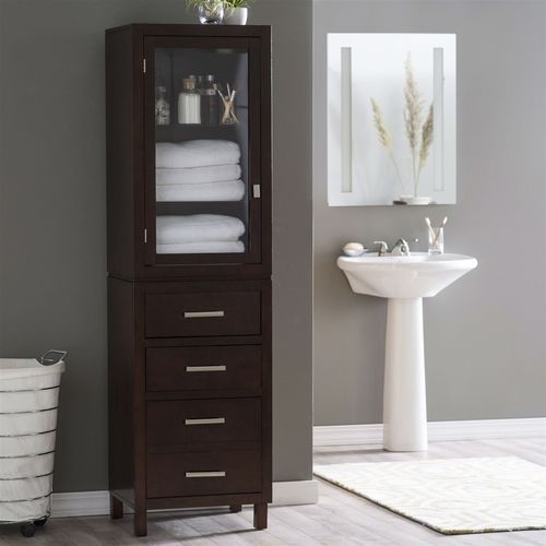 Great Espresso Wood Linen Tower Bathroom Storage Cabinet with Glass Paneled Door