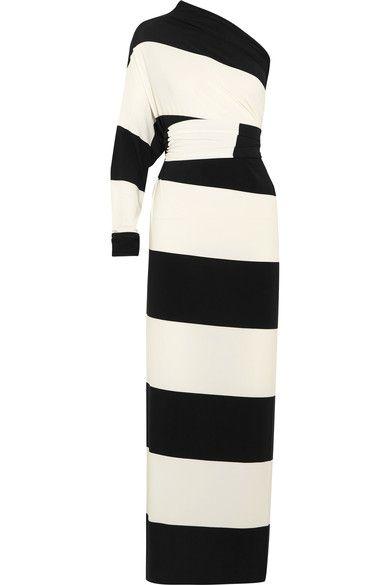 Norma kamali multi way striped stretch jersey maxi dress - Norma kamali costumi da bagno ...