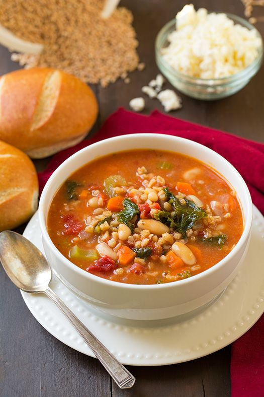 Mediterranean Kale, Cannellini and Farro Stew Recipe ~ delicious and incredibly filling. Click through for recipe!