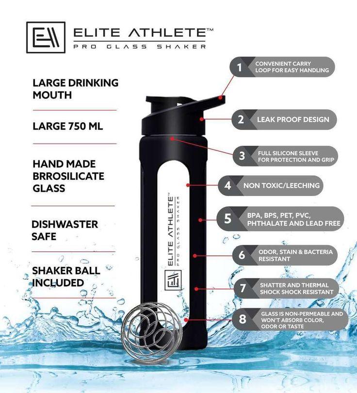 Protein Shaker Bottle Water Gym Fitness Glass Sport Supplement Drink Blender mix #EliteAthlete