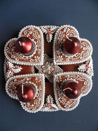 Advent candlestick from decorated gingerbread, Czechia #christmas #CzechChristmas #gingergbread