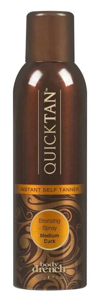 Quick Tan is a fine-misting spray-on self tanner that provides immediate golden color. This fast-drying, non-greasy spray provides even coverage and will not fade, streak, smear or give you an orange appearance. Quick Tan will give you a long-lasting bronze tan for up to five days.