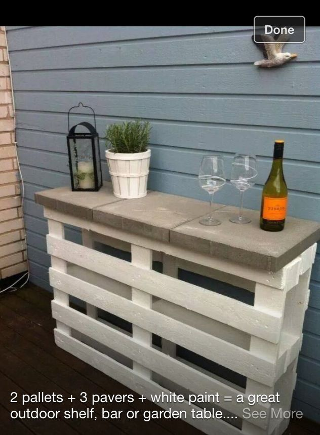 DIY--Patio table or reverse the one skid, throw some shelves in there and you've got a bar!