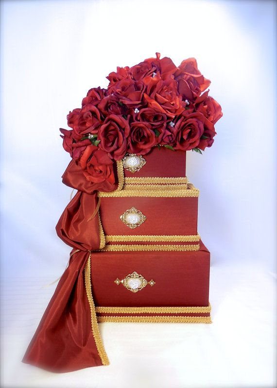 Wedding Card Box Henna Red And Gold By WrapsodyandInk