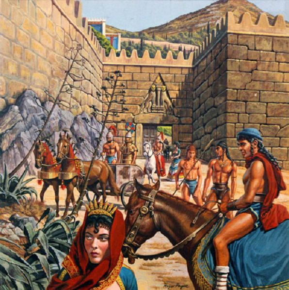 ART OF WAR: HEROES OF TROY AND MYCENAE The Mycenaean Age citadels were the center of political life in the Bronze Age Aegean. This lively image brings to life the Lion Gate at Mycenae; main entrance into the fortified palace-complex of the Atreidae kings.