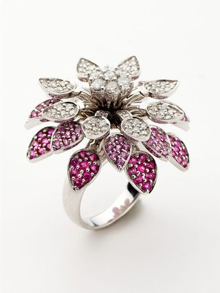 Shop Pink Sapphire & 1.32 Total Ct. Diamond Rotating Flower Ring by Vendoro at Gilt