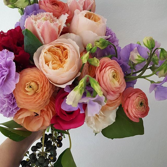 Bouquet of beautiful Spring pastels with undertones of hot pink.