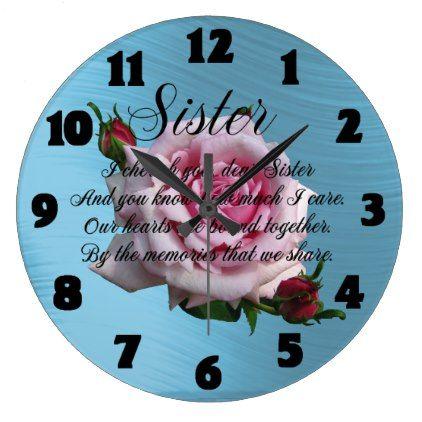 SISTER QUOTE LARGE CLOCK - quote pun meme quotes diy custom