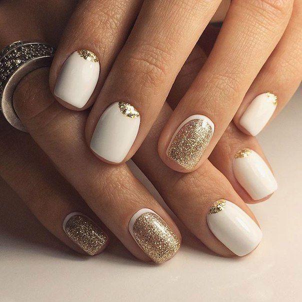 Festive nails, January nails, Nails ideas 2017, New Year nails 2017, New years nails, Original moon nails, Two-color nails, Two-color nails ideas