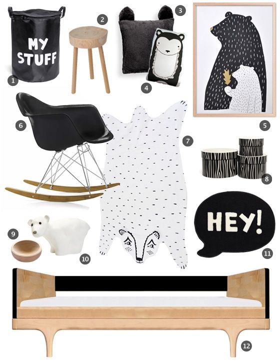 black white kids room little gatherer - Black Boys Bedroom Designs