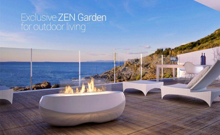 Exclusive ZEN Garden by Planika for outdoor living.   www.planikafires.com