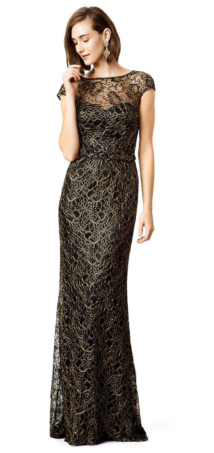 Absolutely stunning black and gold lace evening gown by Theia (at Rent the Runway) for black tie events.