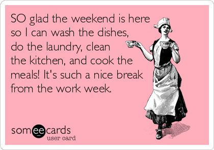 SO glad the weekend is here so I can wash the dishes, do the laundry, clean the kitchen, and cook the meals! It's such a nice break from the work week.
