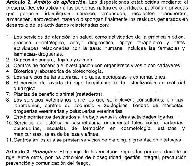 """DECRETO RESIDUOS HOSPITALARIOS """"Por el cual se reglamenta la gestión integral de los residuos generados en la atención en salud y otras actividades"""""""