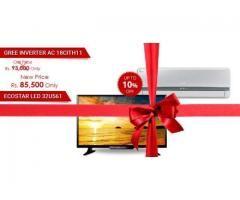 GREE 1.5 TON AIR CONDITIONER INVERTER 18CITH11 EcoStar 32 Slim Panel LED TV