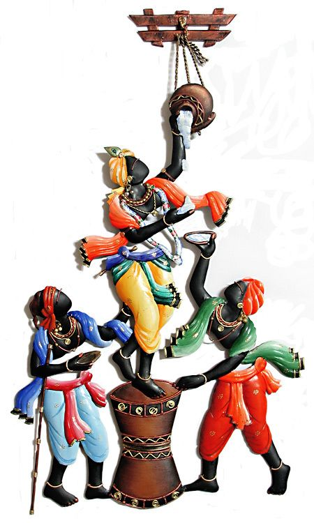 Krishna Steaing Butter with His Friends - Iron Craft Wall Hanging for Home Decor