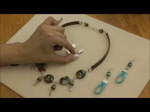 Using End Caps on Leather Cord Tutorial - Beginner - Using End Caps allows you to do just about any design with Leather Cord. In this Video Jamie shows 3 different project designs using End Caps. We carry 2 different styles of End Caps in a Antique Silver Finish. You can use 10mm Flat Leather Cord or 2 lengths of 5mm Flat leather cord in your designs.