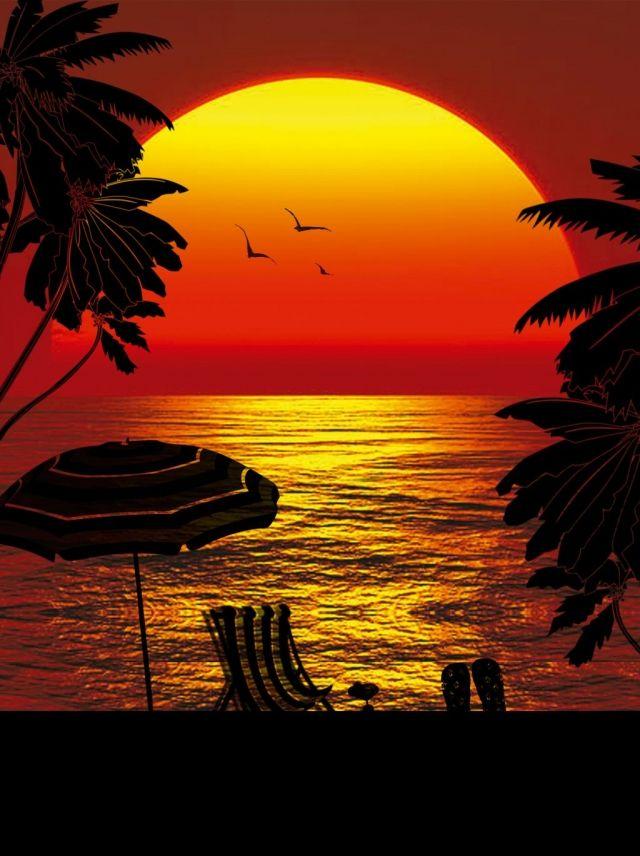 غروب الشمس تحت البحر صورة ظلية ملصق ملف المصدر Background Images Sunset Silhouette Sunset Background