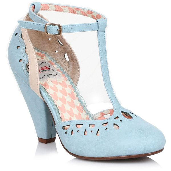Powder Blue Perforated Leatherette Elsie Vintage T-Strap Pumps (£58) ❤ liked on Polyvore featuring shoes, pumps, light blue, t bar shoes, high heel shoes, closed toe shoes, cone heel pumps and t strap shoes