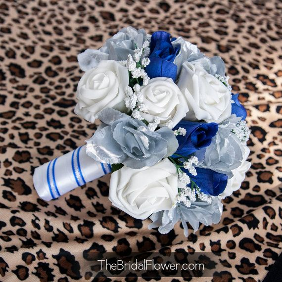 Royal blue and silver wedding bridal bouquet by TheBridalFlower