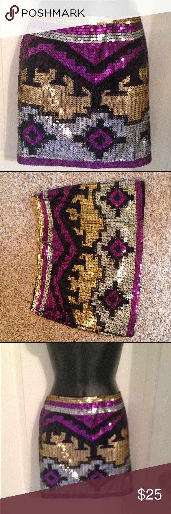 Purple & gold Aztec sequin skirt Purple & gold Aztec / tribal sequin mini skirt, sz large envy me Skirts Mini