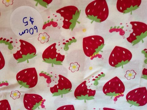 Berry Munch by Two Cheeky Monkeys fabric Designer:  Two Cheeky Monkeys Print:  Berry Munch Fabric:  100% cotton, 110cm $5.00 #twocheekymonkeys #fabric #strawberries