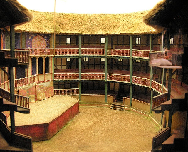 This is the rebuilt Globe Theatre (opened 1997) in London, modelled on the original design from the 17th century. Learn more about the theatre at www.shakespearesglobe.com