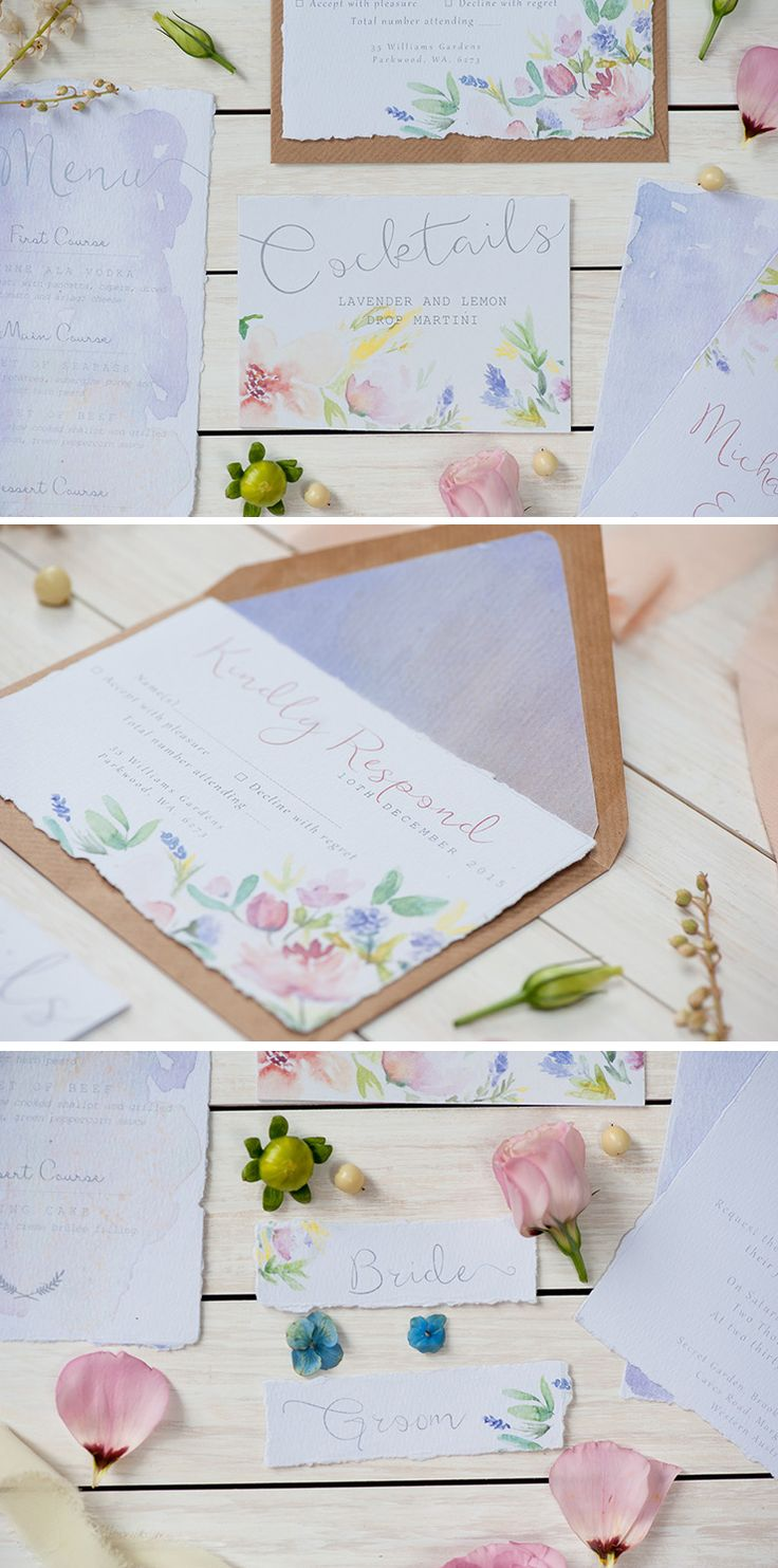 Pastel floral wedding invitation suite | Liesl Cheney Photography | See more: http://theweddingplaybook.com/watercolour-garden-wedding-inspiration/