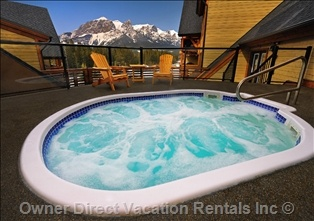 Hot tub with amazing view of the Alberta Rockies. Canmore, AB, Canada