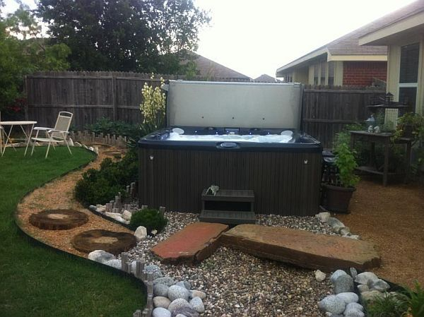 61 best images about hot tub ideas on pinterest backyard for Spa patio designs