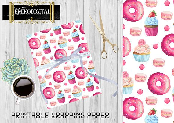 80% Off Printable WRAPPING PAPER Donut ice cream Wrapping