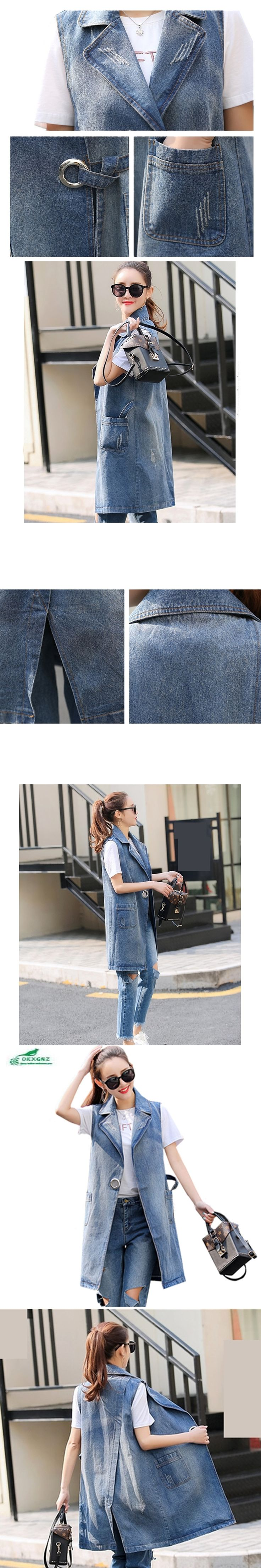 Fashion Women Denim Vests Outwear 2017 Summer Women Plus Size s-3xL Medium-Long Casual Coat Sleeveless Denim Jacket A275 OKXGNZ